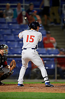 Binghamton Rumble Ponies left fielder Tim Tebow (15) at bat during a game against the Erie SeaWolves on May 14, 2018 at NYSEG Stadium in Binghamton, New York.  Binghamton defeated Erie 6-5.  (Mike Janes/Four Seam Images)