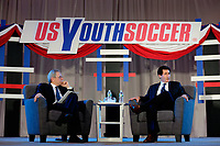Philadelphia, PA - Saturday January 20, 2018: JP Dellacamera, Steve Gans during the U.S. Soccer Federation Presidential Election Candidates Forum hosted by US Youth Soccer at the Philadelphia Marriott Downtown Grand Ballroom.
