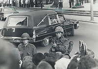 Days of terror: Canadian soldiers guard the funeral cortege of Quebec Labor Minister Pierre Laporte; murdered by FLQ terrorists.<br /> <br /> 1970<br /> <br /> PHOTO :  Doug Griffin - Toronto Star Archives - AQP