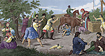 History. Rural society. Russian rural games. 19th century. Engraving. (Later colouration).