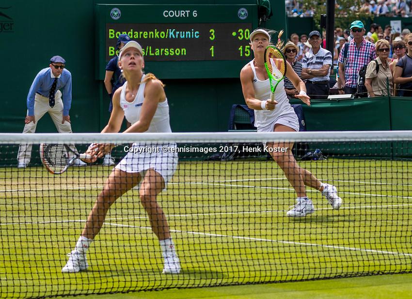 London, England, 6 th July, 2017, Tennis,  Wimbledon, Women's doubles: Kiki Bertens (NED) / Johanna Larsson (SWE) (L)<br /> Photo: Henk Koster/tennisimages.com