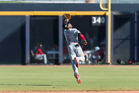 Scottsdale Scorpions second baseman Shed Long (6), of the Cincinnati Reds organization, attempts to make a leaping catch during an Arizona Fall League game against the Peoria Javelinas at Peoria Sports Complex on October 18, 2018 in Peoria, Arizona. Scottsdale defeated Peoria 8-0. (Zachary Lucy/Four Seam Images)
