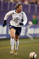 """USA's Abby Wambach. The US Women's National Team tied the Denmark Women's National Team 1 to 1 during game 8 of the 10 game the """"Fan Celebration Tour"""" at Giant's Stadium, East Rutherford, NJ, on Wednesday, November 3, 2004.."""
