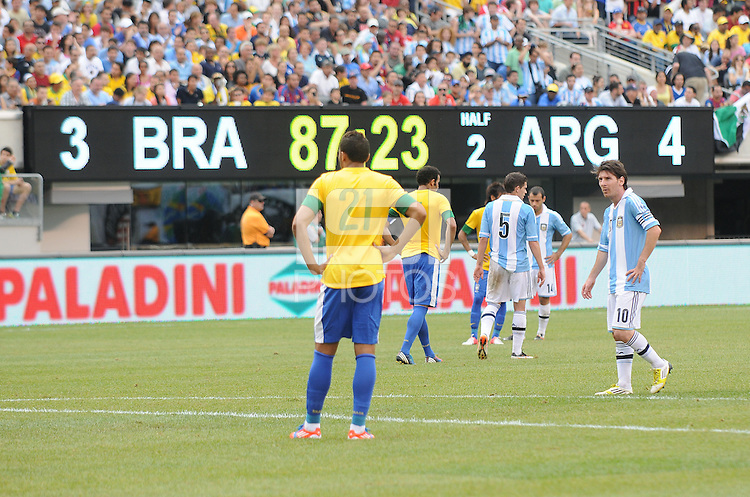 Final score at the end of the game. The Argentina National Team defeated Brazil 4-3 at MetLife Stadium, Saturday July 9 , 2012.