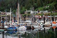 Queen Charlotte Islands (Haida Gwaii), Northern BC, British Columbia, Canada - Commercial Fishing Boats and Pleasure Boast docked at Marina, Queen Charlotte City, Graham Island