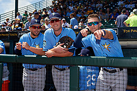 Tampa Bay Rays (L-R) Curt Casali, Casey Gillaspie, and Jake Hager in the dugout before during a Spring Training game against the Pittsburgh Pirates on March 10, 2017 at LECOM Park in Bradenton, Florida.  Pittsburgh defeated New York 4-1.  (Mike Janes/Four Seam Images)