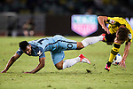 Manchester City striker Sergio Aguero (l) fights for the ball with Borussia Dortmund midfielder Felix Passlack (r) during the match against Borussia at the 2016 International Champions Cup China match at the Shenzhen Stadium on 28 July 2016 in Shenzhen, China. Photo by Victor Fraile / Power Sport Images