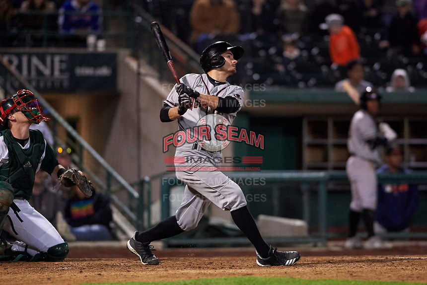 Quad Cities River Bandits left fielder Jonathan Lacroix (8) during a Midwest League game against the Fort Wayne TinCaps at Parkview Field on May 3, 2019 in Fort Wayne, Indiana. Quad Cities defeated Fort Wayne 4-3. (Zachary Lucy/Four Seam Images)