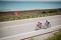 breakaway riders Marco Frapporti  (ITA/Androni Giocattoli - Sidermec) & Damiano Cima (ITA/Nippo - Vini Fantini) riding next to the Adriatic Sea<br /> <br /> Stage 8: Tortoreto Lido to Pesaro (239km)<br /> 102nd Giro d'Italia 2019<br /> <br /> ©kramon