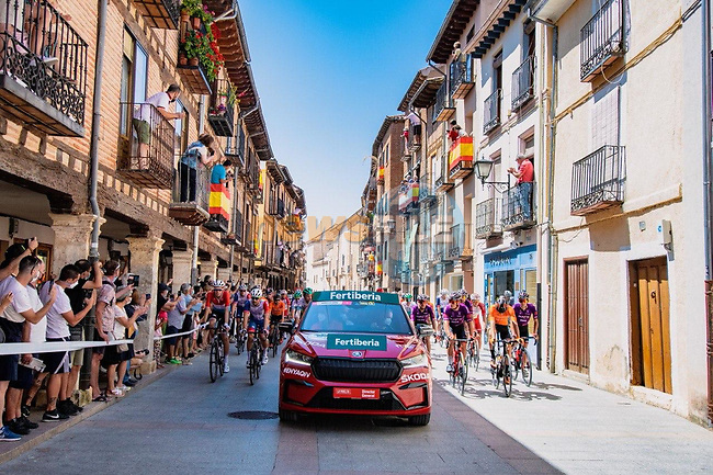 The start of Stage 4 of La Vuelta d'Espana 2021, running 163.9km from Burgo de Osma to Molina de Aragon, Spain. 17th August 2021.    <br /> Picture: Cxcling | Cyclefile<br /> <br /> All photos usage must carry mandatory copyright credit (© Cyclefile | Cxcling)