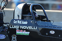 Jul, 9, 2011; Joliet, IL, USA: NHRA top fuel dragster driver Luigi Novelli during qualifying for the Route 66 Nationals at Route 66 Raceway. Mandatory Credit: Mark J. Rebilas-