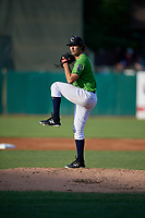 Kane County Cougars pitcher Jackson Goddard  (12) during a Midwest League game against the Dayton Dragons on July 20, 2019 at Northwestern Medicine Field in Geneva, Illinois.  Dayton defeated Kane County 1-0.  (Mike Janes/Four Seam Images)