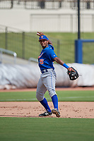 GCL Mets third baseman Pedro Ventura (75) throws to first base during the first game of a doubleheader against the GCL Nationals on July 22, 2017 at The Ballpark of the Palm Beaches in Palm Beach, Florida.  GCL Mets defeated the GCL Nationals 1-0 in a seven inning game that originally started on July 17th.  (Mike Janes/Four Seam Images)