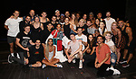 """Bahiyah Hibah, Aaron Tveit, Karen Olivo, Danny Burstein, Sahr Nguajah, Tam Mutu, Ricky Rojas and Robyn Hurder with cast during the Broadway Opening Night Legacy Robe Ceremony honoring Bahiyah Hibah for  """"Moulin Rouge! The Musical"""" at the Al Hirschfeld Theatre on July 25,2019 in New York City."""
