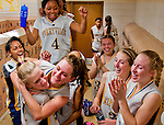 Perryville celebrates their win versus Sparrows Point in the 1A Girls Basketball State Championship Opening Round matchup at Perryville High School in Perryville, Maryland on February 27, 2012