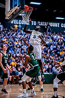 12 March 2019: University of Vermont Catamount Forward Samuel Dingba, a Redshirt Senior from Yaounde, Cameroon, in action against the Binghamton University Bearcats at Patrick Gymnasium in Burlington, Vermont. The top-seeded Catamounts advanced to their fourth-straight America East conference championship game, defeating the Bearcats 84-51. Mandatory Credit: Ed Wolfstein Photo *** RAW (NEF) Image File Available ***