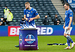 Livingston v St Johnstone …28.02.21   Hampden   BetFred Cup Final<br />No presentation ceremony as goal scorer Shaun Rooney and Chris Kane collect their medal after winning the BETFRED Cup<br />Picture by Graeme Hart.<br />Copyright Perthshire Picture Agency<br />Tel: 01738 623350  Mobile: 07990 594431