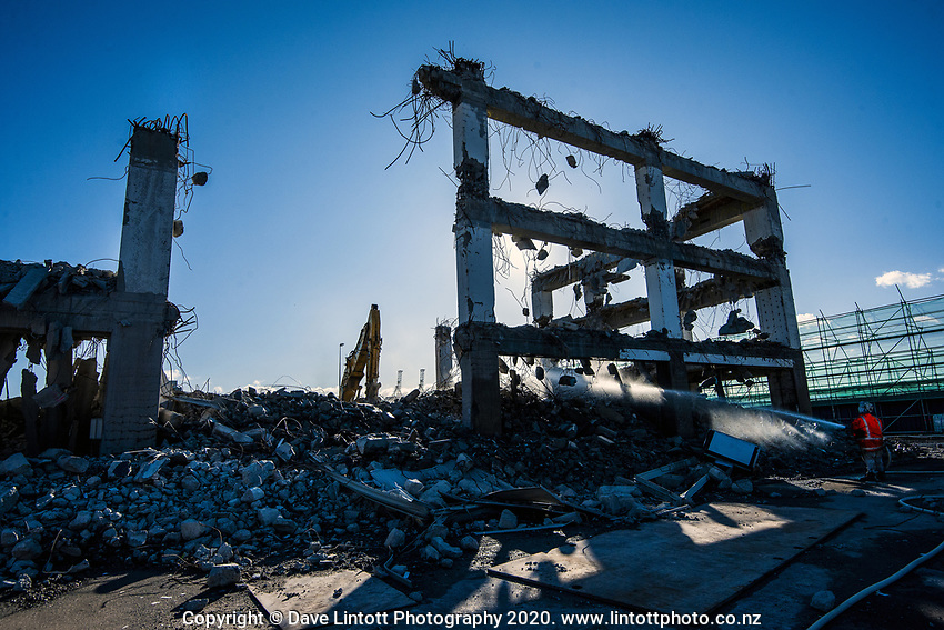 BNZ building demolition site. CentrePort in Wellington, New Zealand on Monday, 28 September 2020. Photo: Dave Lintott / lintottphoto.co.nz