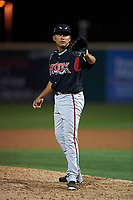 Lake Elsinore Storm relief pitcher Diomar Lopez (34) during a California League game against the Rancho Cucamonga Quakes at LoanMart Field on May 19, 2018 in Rancho Cucamonga, California. Lake Elsinore defeated Rancho Cucamonga 10-7. (Zachary Lucy/Four Seam Images)