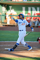 Cristian Santana (27) of the Ogden Raptors bats against the Orem Owlz in Pioneer League action at Lindquist Field on June 27, 2017 in Ogden, Utah. Ogden defeated Orem 14-5. (Stephen Smith/Four Seam Images)