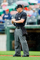 Home plate umpire Toby Basner during the International League game between the Buffalo Bison and the Charlotte Knights at Knights Stadium on May 13, 2012 in Fort Mill, South Carolina.  The Bison defeated the Knights 7-6.  (Brian Westerholt/Four Seam Images)