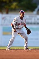 Auburn Doubledays shortstop Osvaldo Abreu (7) during a game against the Batavia Muckdogs on August 27, 2014 at Dwyer Stadium in Batavia, New York.  Auburn defeated Batavia 6-4.  (Mike Janes/Four Seam Images)