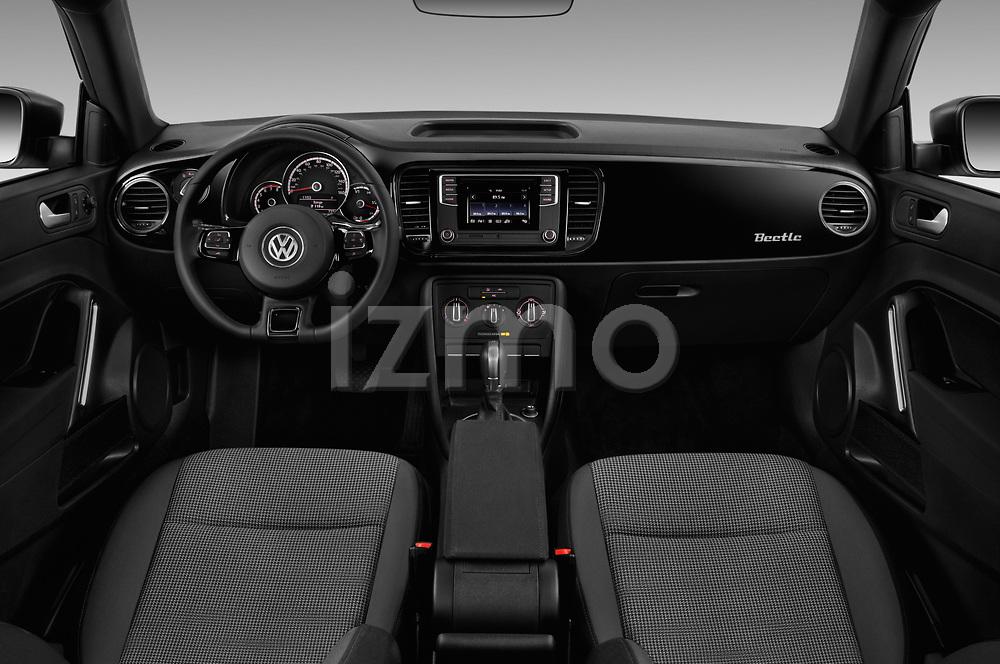 Stock photo of straight dashboard view of a 2019 Volkswagen Beetle S 5 Door Hatchback