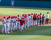 STANFORD, CA - JUNE 7: Team introductions before a game between UC Irvine and Stanford Baseball at Sunken Diamond on June 7, 2021 in Stanford, California.