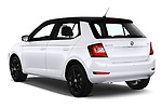 Car pictures of rear three quarter view of 2018 Skoda Fabia Ambition 5 Door Hatchback Angular Rear