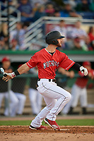 Batavia Muckdogs Evan Edwards (26) bats during a NY-Penn League game against the Auburn Doubledays on June 14, 2019 at Dwyer Stadium in Batavia, New York.  Batavia defeated 2-0.  (Mike Janes/Four Seam Images)