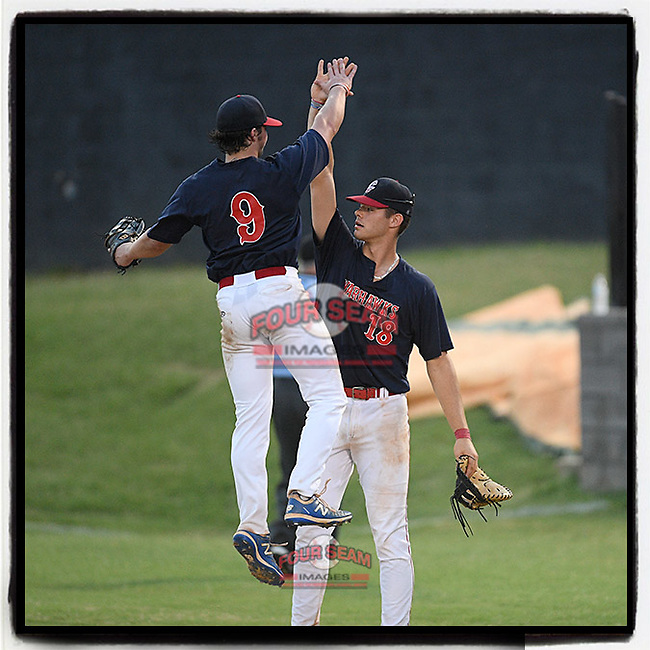 Nick Couch (9) of the Greer Warhawks goes high for a celebratory high five with Caden Grice (18) after a 9-4 win in a South Carolina American League game against Easley on Thursday, July 16, 2020, at Stevens Field in Greer, South Carolina. (Tom Priddy/Four Seam Images)