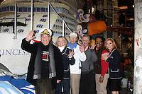 "LOS ANGELES - DEC 30:  Gavin MacLeod, Lauren Tewes, Bernie Kopell, Fred Grandy, Ted Lange, Jill Whelan at the Original ""Love Boat"" Cast decorates Princess Cruises' Rose Parade Float at a Rosemont Pavilion on December 30, 2014 in Pasadena, CA"