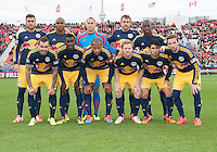 Toronto, Ontario - May 17, 2014: The starting eleven of the New York Red Bulls during a game between the New York Red Bulls and Toronto FC at BMO Field. Toronto FC won 2-0.
