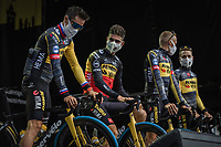 Belgian National Champion Wout Van Aert (BEL/Jumbo Visma) and Primoz Roglic (SVN/Jumbo-Visma)at the pre Tour teams presentation of the 108th Tour de France 2021 in Brest at le Grand Départ.