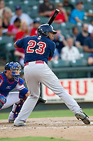 Oklahoma City RedHawks first baseman Jonathan Singleton (23) at bat against the Round Rock Express during the Pacific Coast League baseball game on August 25, 2013 at the Dell Diamond in Round Rock, Texas. Round Rock defeated Oklahoma City 9-2. (Andrew Woolley/Four Seam Images)