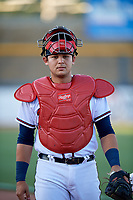 Mississippi Braves catcher Alex Jackson (25) walks to the dugout before a game against the Mobile BayBears on May 7, 2018 at Trustmark park in Pearl, Mississippi.  Mobile defeated Mississippi 5-0.  (Mike Janes/Four Seam Images)