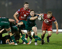 14th November 2020; Galway Sportsgrounds, Galway, Connacht, Ireland; Guinness Pro 14 Rugby, Connacht versus Scarlets; Kieran Marmion plays the ball out for Connacht