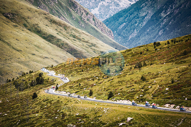 The publicity caravan before Stage 15 of the 2021 Tour de France, running 191.3km from Ceret to Andorre-La-Vieille, France. 11th July 2021.  <br /> Picture: A.S.O./Aurelien Vialatte   Cyclefile<br /> <br /> All photos usage must carry mandatory copyright credit (© Cyclefile   A.S.O./Aurelien Vialatte)