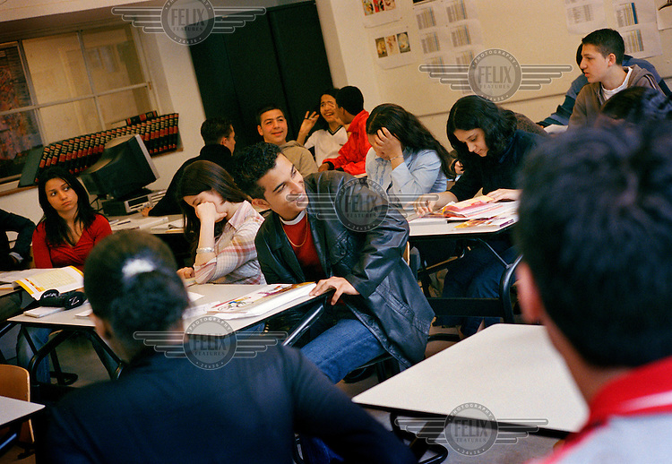 Dutch-Turkish teenager Hakan Dinc (16) talks to friends during a lesson in business studies at a the ROC vocational school, which is made up of students from predominantly Turkish and Moroccan backgrounds.  Hakan was born in the Netherlands but says he feels more Turkish than Dutch.