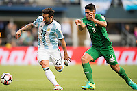Action photo during the match Argentina vs Bolivia, Corresponding to Group -D- America Cup Centenary 2016 at CenturyLink Field.<br /> <br /> Foto de accion durante el partido Argentina vs Bolivia, Correspondiente al Grupo -D- de la Copa America Centenario 2016 en el  CenturyLink Field, en la foto:  (i-d) Ezequiel Lavezzi de Argentina y Luis Gutierrez de Bolivia<br /> <br /> <br /> 14/06/2016/MEXSPORT/Omar Martinez.
