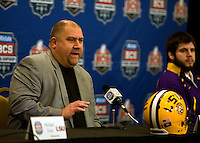 LSU offensive coordinator Greg Studrawa talks with the reporters during BCS Championship LSU Offensive Press Conference at Marriott Hotel at the Convention Center in New Orleans, Louisiana on January 7th, 2012.