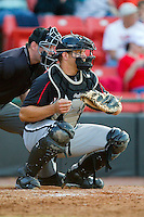 Kannapolis Intimidators catcher Brent Tanner (23) on defense against the Hickory Crawdads at L.P. Frans Stadium on May 25, 2013 in Hickory, North Carolina.  The Crawdads defeated the Intimidators 14-3.  (Brian Westerholt/Four Seam Images)