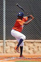 GCL Astros shortstop Joan Mauricio (47) at bat during the first game of a doubleheader against the GCL Mets on August 5, 2016 at Osceola County Stadium Complex in Kissimmee, Florida.  GCL Astros defeated the GCL Mets 4-1 in the continuation of a game started on July 21st and postponed due to inclement weather.  (Mike Janes/Four Seam Images)