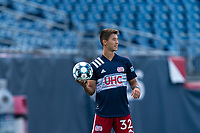 FOXBOROUGH, MA - JULY 25: USL League One (United Soccer League) match. Simon Lekressner #32 of New England Revolution II during a game between Union Omaha and New England Revolution II at Gillette Stadium on July 25, 2020 in Foxborough, Massachusetts.