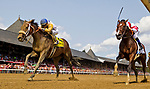 SARATOGA SPRINGS, NY - AUGUST 26: Forever Unbridled #4, ridden by Joel Rosario outduels Songbird #2, ridden by Mike Smith to win the Personal Ensign Stakes on Travers Stakes Day at Saratoga Race Course on August 26, 2017 in Saratoga Springs, New York. (Photo by Alex Evers/Eclipse Sportswire/Getty Images)