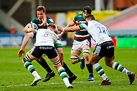 28th March 2021; Mattoli Woods Welford Road Stadium, Leicester, Midlands, England; Premiership Rugby, Leicester Tigers versus Newcastle Falcons; Hanro Liebenberg of Leicester Tigers looks to beat Callum Chick of Newcastle Falcons
