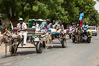 Senegal, Touba.  Street Scene.  Donkey-drawn Carts and a Taxi Provide Local Transport.
