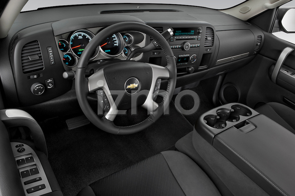 High angle dashboard view of a 2009 Chevrolet Silverado Hybrid