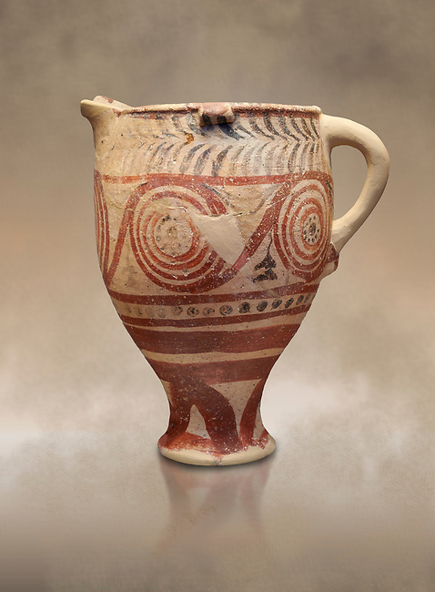 Cycladic spouted cup with floral and net pattern.   Cycladic (1650-1450 BC) , Phylakopi III, Melos. National Archaeological Museum Athens. Cat no 5755. <br /> <br /> Ceramic shapes and painted style are heavily influenced by Minoan styles during this period. Dark floral and spiral patterns are painted over a lighted backgound with wavy bands.