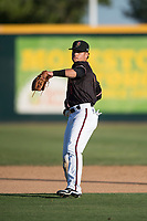 Modesto Nuts shortstop Bryson Brigman (8) prepares to make a throw to first base during a California League game against the San Jose Giants at John Thurman Field on May 9, 2018 in Modesto, California. San Jose defeated Modesto 9-5. (Zachary Lucy/Four Seam Images)